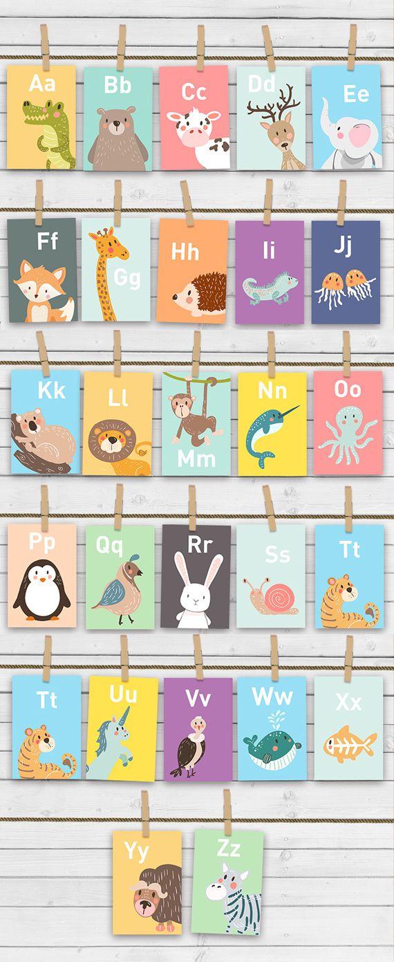 "Animal alphabet card set Alphabet flash cards abc Nursery wall cards abc cards Classroom decor INSTANT DOWNLOAD digital PRINTABLE 4x6"""