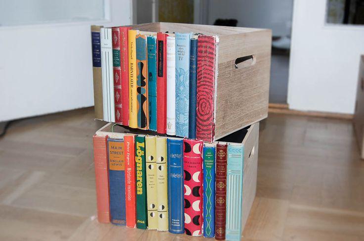 Gör en förvaringsback dekorerad med bokryggar slipper du välja! Foto: Matilda Ekström