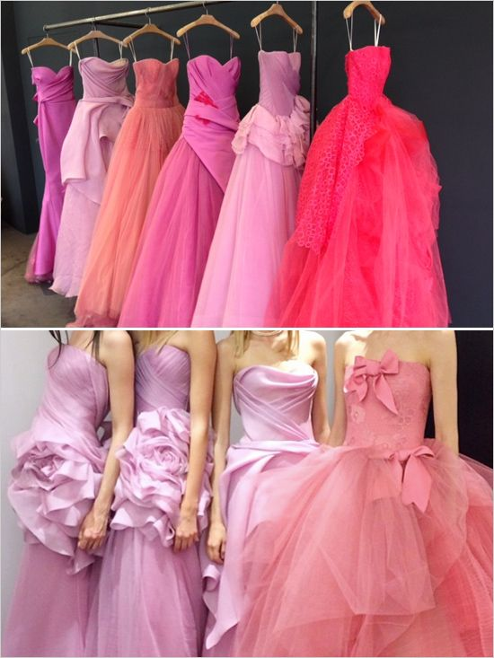 Pink wedding gowns by Vera Wang. Utterly dreamy.  http://www.weddingchicks.com/2013/11/12/vera-wang-pink-wedding-gowns/