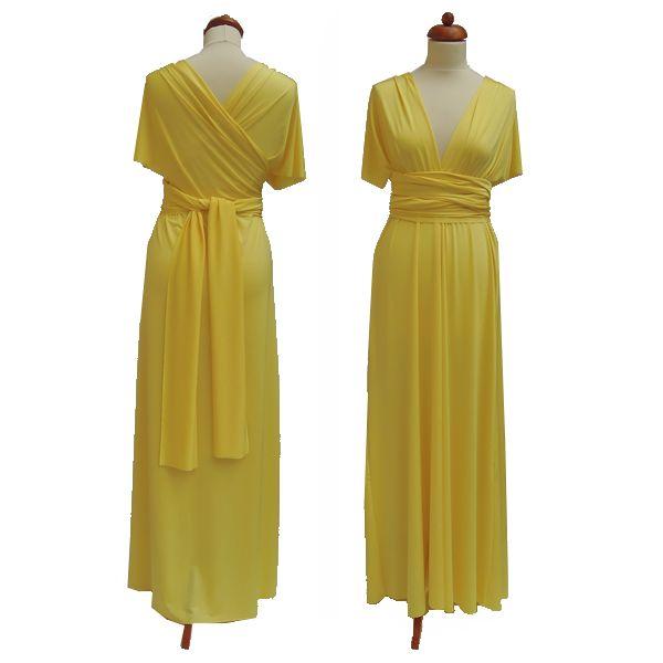 Dlouhé žluté šaty. Variabilní šaty Convertibles jsou ideální na svatbu, maturitní ples, společenské akce i denní nošení. Uvažte si je jakkoliv budete chtít a pokaždé v nich můžete vypadat jinak.