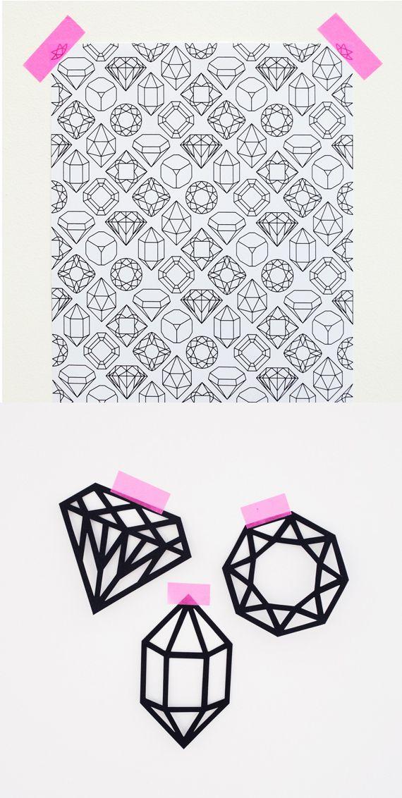 gem paper & gem paper cut-outs (free printable downloads)