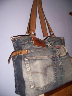 Costumari Labores: Volviendo al reciclado,bolso vaquero con pantalon ...proximo muy prontoooo!!!!!