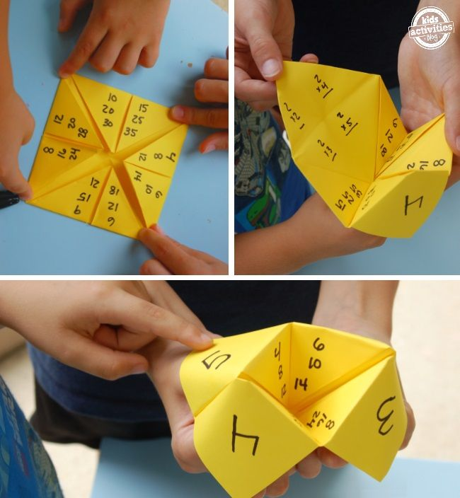 Paper Math Game - Multiplication When kids lift the flap there are four multiplication problems for them to solve.
