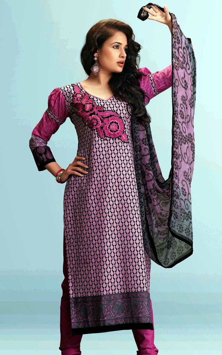 OFF WHITE & PURPLE COTTON PRINTED SALWAR KAMEEZ - WIS 151