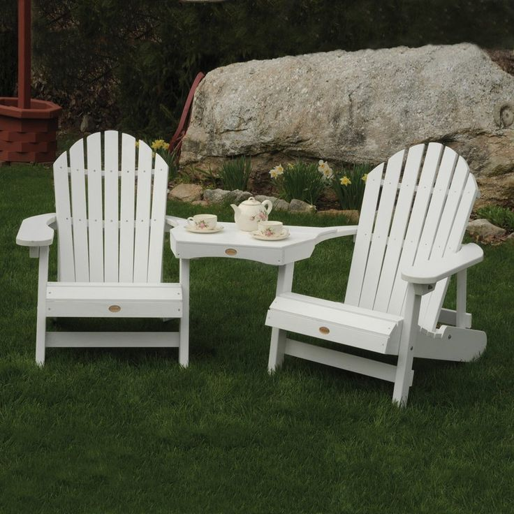 Like the table that rests on the arms between the chairs. Pretty cool idea. Shop Highwood USA Set of 2 White Wood Rustic Adirondack Chairs with Table at Lowes.com