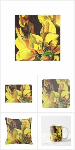 Gorse  Realistic oil painting of close up to gorse.  Seen flowering profusely in Spring on Wales coast path. On zazzle products to enjoy from day to day