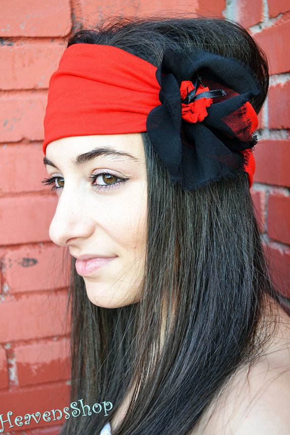 Hot Red Headband With Flower Applique Turban Elastic Jersey And Chiffon Bandana