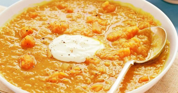 Curry powder makes this lentil and pumpkin soup zing.