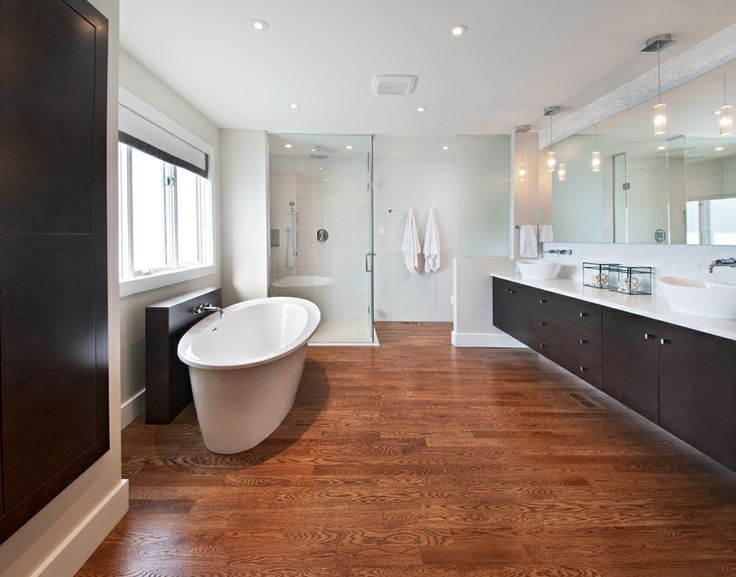 Modern Amp Clean Master Ensuite With Curbless Shower Floating Vanity With Frosted Glass Partition