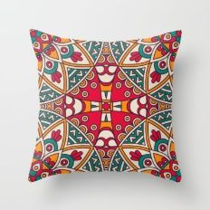 Throw Pillow featuring Bright Vibrant Colorful Bohemian Pattern by ModernArtPrints