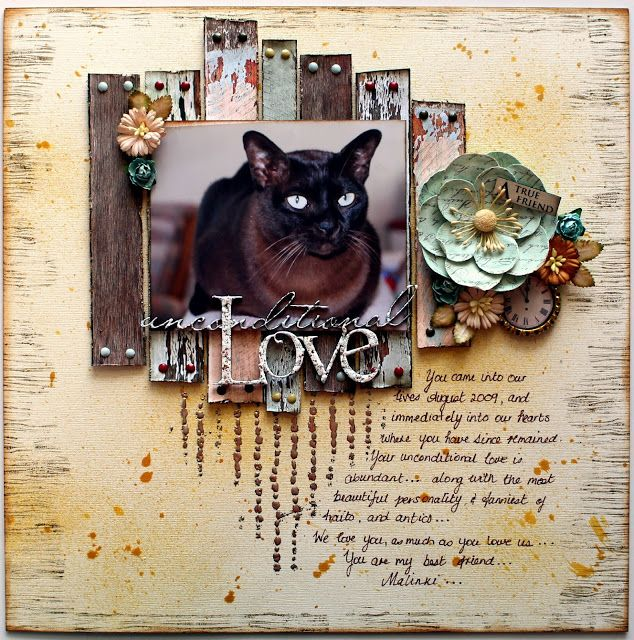September sketch challenge layout for The Scrapbook Store, using Kaisercraft's Basecoat, Scrap FX chipboard, and Stampendous Embossing Powder..... and more! My beautiful Burmese cat, Malinki.