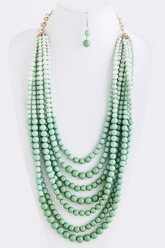 layered mint.: Mint Stacked, Statement Necklaces, Beads Macrame, Jewelry Love, Mint Necklace, Stacked Ombre, Beaded Statement Necklace