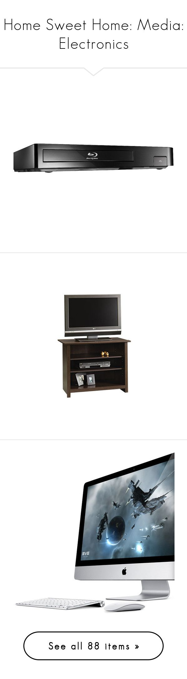 """""""Home Sweet Home: Media: Electronics"""" by skylarinc ❤ liked on Polyvore featuring home, furniture, storage & shelves, entertainment units, sauder tv stand, sauder furniture, sauder, electronics, accessories and tech"""