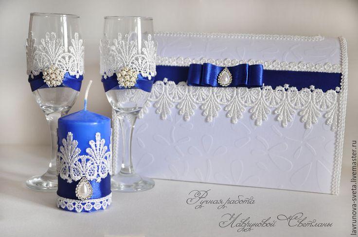 Купить Набор свадебных аксессуаров - свадебные аксессуары, Бокалы, свадебные бокалы, свадебные свечи, брошь