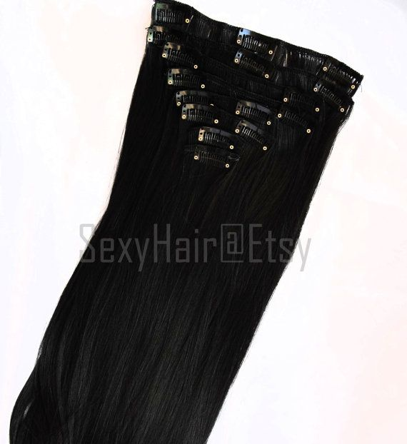 24 Black Hair Extension Black Hair Full Head Clip in by SexyHair