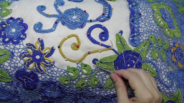 Урок вязания СЕТОЧКИ в ирландском кружеве.Lesson crochet mesh in Irish l...