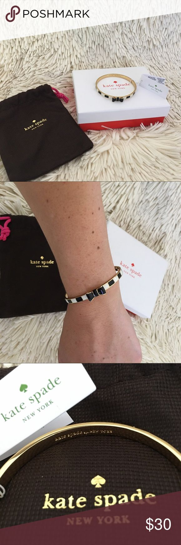 """Kate Spade Black/White/Gold Enamel Bow Bracelet Never been worn, new with tags Kate Spade Black/White/Gold Enamel Bow Bracelet. Bracelet measures 2.5"""" in width. In perfect condition. kate spade Jewelry Bracelets"""