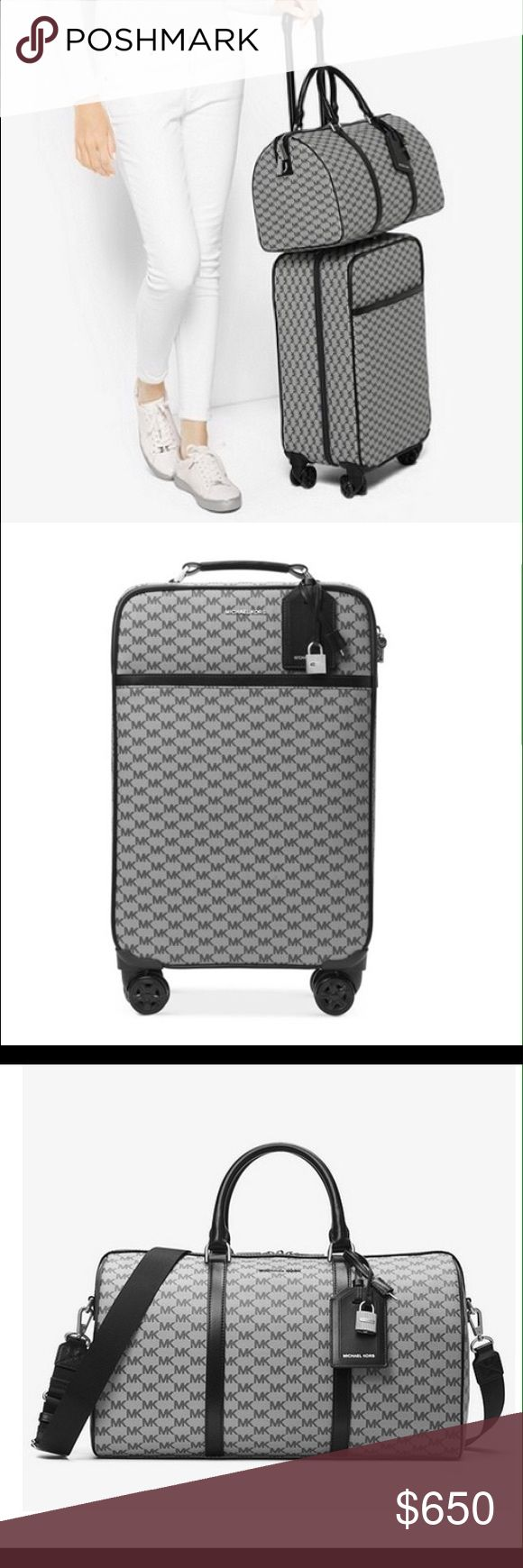 "Michael Kors  Large Travel Trolley & Weekender Travel in style with this Large Heritage Logo Weekender & 4-Wheel Large Signature Travel Trolley in Black Signature coated canvas w/silver-tone hardware.  Trolley: interior- 1 zip compartment, 2 zip pockets & 1 mesh pocket. 1"" top handle; 10.75""-20"" adjustable handle. Exterior from zip compartment & 1 back zip compartment. 12.75""Wx18""Hx7.75""D. Weekender: 5"" handle drop, 14-27.5"" adjustable strap, back magnetic snap  slit pocket.  Interior-zip…"