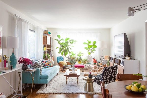 Bri Emery's mid-century bright living room | Style by Emily Henderson