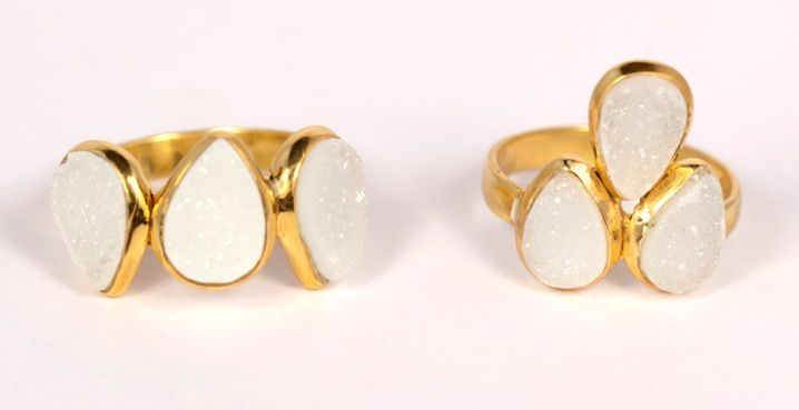 Two #rings from our #new #Summer #jewellery #collection. These are both white Druzy in a silver 18 carat gold plated setting.