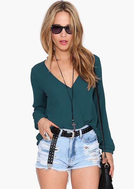 Blusa suelta cuello pico manga larga-verde 11.19