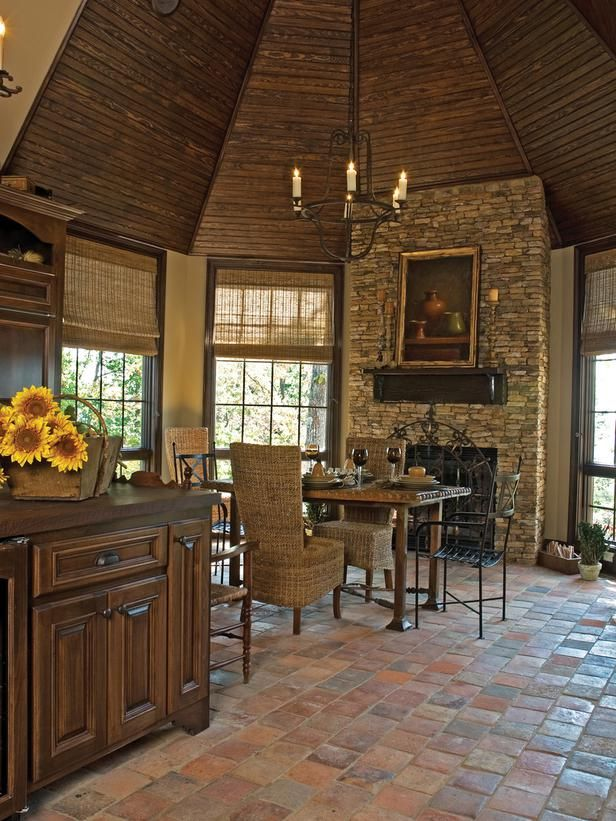 ideas for kitchen, love the stonework, floors and woodwork