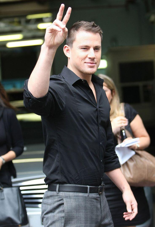 Channing Tatum grey pants black shirt | men's style* | Pinterest ...