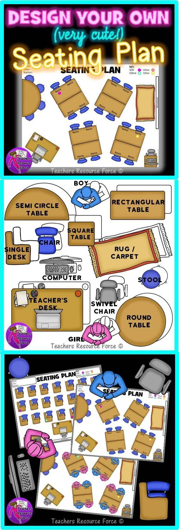 """Design your own seating plan! We teachers do like everything to look fabulous, don't we! Why then, do our seating charts consist of boring rectangles most of the time!? Frustrated by the dull look of seating plans and uninspired shapes we have to work with, I decided to make my own """"build your own interactive seating plan"""" that is realistic, very cute and can be customized to ANY classroom!"""
