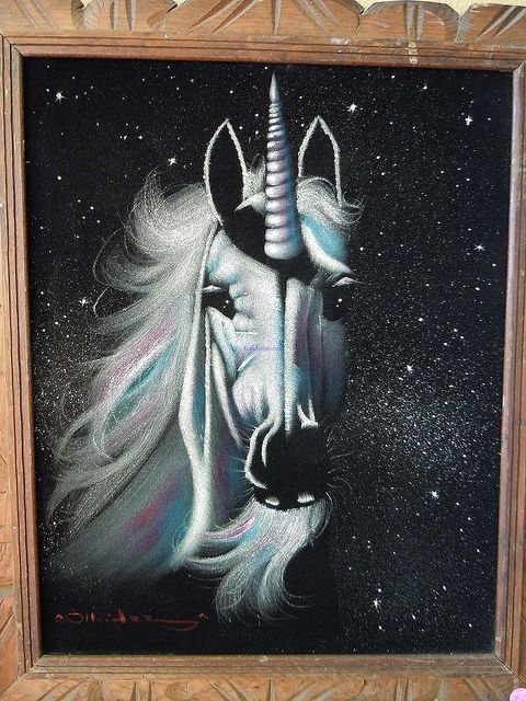 Black Velvet of a Unicorn, I guess Elvis was making an appearance elsewhere. (sold) by Katorina, via Flickr