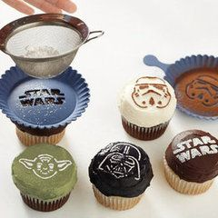 Star Wars Cupcake Decorations: Ideas, Star Wars Cupcakes, Cupcake Rosa-Choqu, Recipe, Birthday Parties, Starwarscupcakes, Food, Cupcake Stencil, Stars War Cupcake