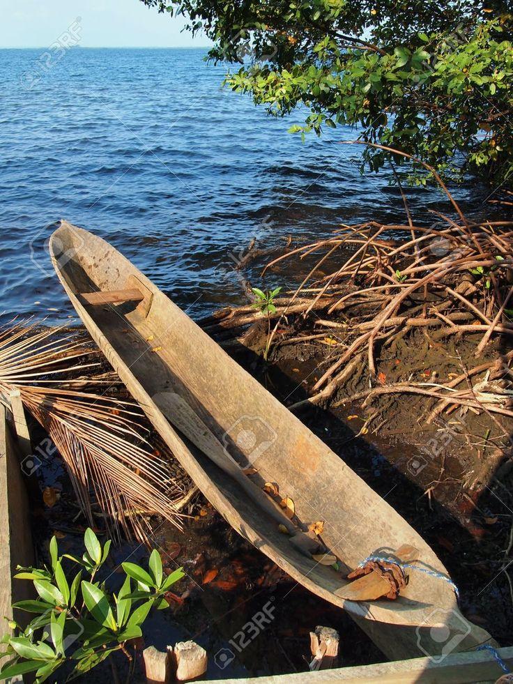 Amerindian dugout canoe in Bocas del Toro, caribbean sea, Panama Stock Photo