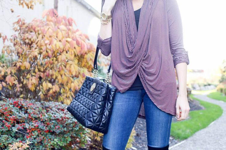 Styling a Striped Wrap Top from the November Magnolia Post Co Collection, Perfect Fall Colours, Drapes Nicely and Can Be Dressed Up or Dressed Down - Perfection!