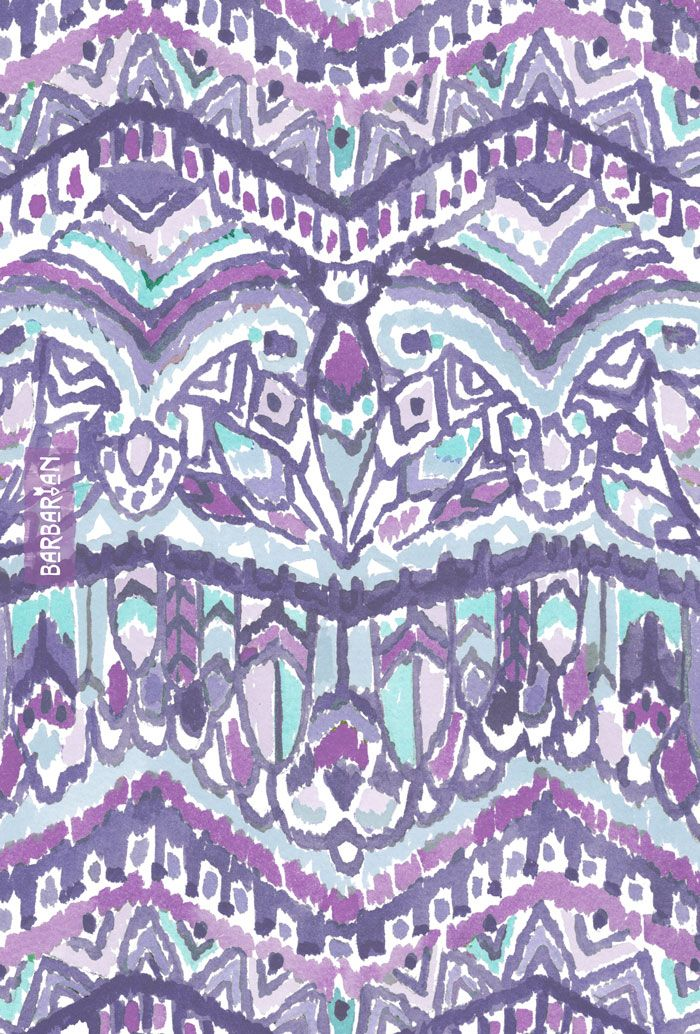 BARBARIAN TRIBE is my signature print and is inspired by birds of prey that fly high and free. This feather tribal print is in cool winter tones of purple and teal and has a hidden all-seeing eye. Feel the free spirit of wandering and wondering. #purple #ultraviolet #tribalprint