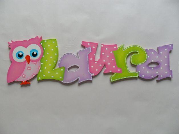Holzbuchstaben - Schriftzug-Namenschild-Farbwunsch - ein Designerstück von Gepettos-Kinderzimmer bei DaWanda