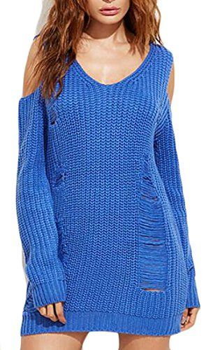 5831f73d4962d7 Papijam Women s Ripped Cold Shoulder Loose Knit Mid Pullover Sweater ...