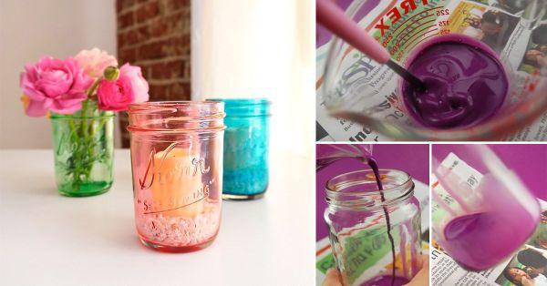 Cómo convertir tus frascos en coloridos adornos