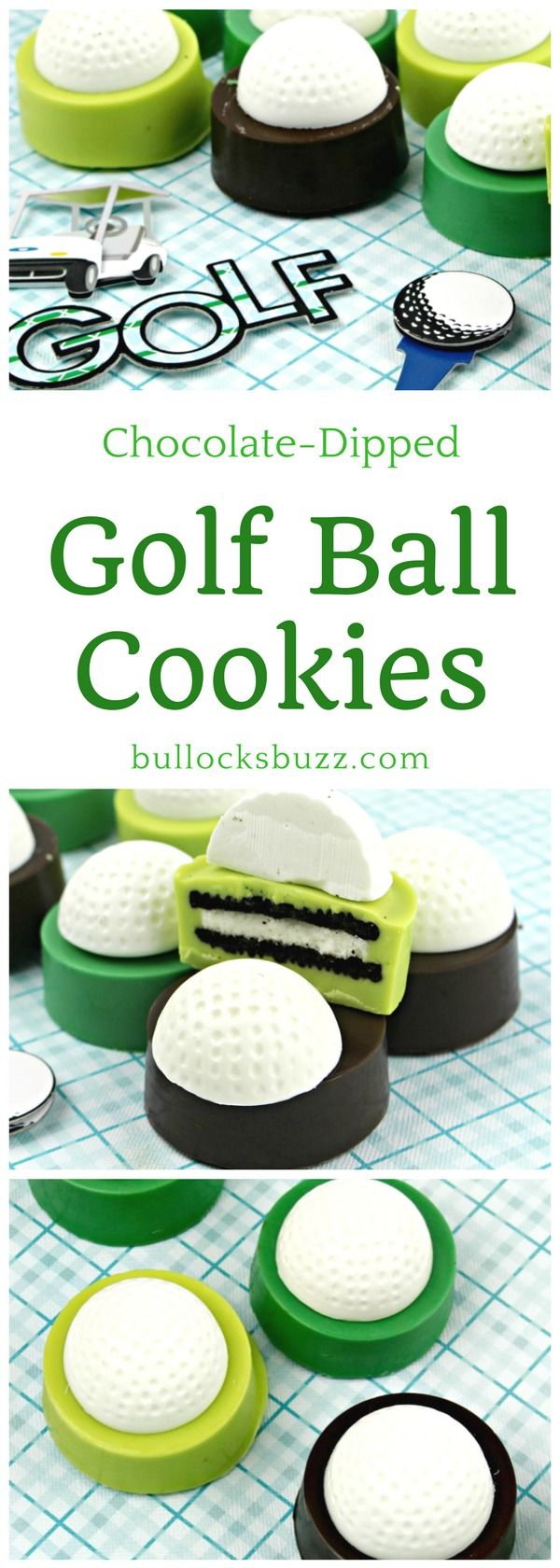 Sink your teeth into these delicious chocolate-dipped Golf Ball Cookies - they're sure to fit your golf-lover to a tee!