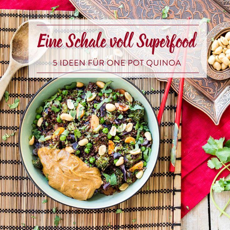 Nach der One Pot Pasta, jetzt der One Pot Quinoa. Alle Zutaten in einen Topf geben, kurz köcheln lassen und genießen - eine Schale voll Superfood.