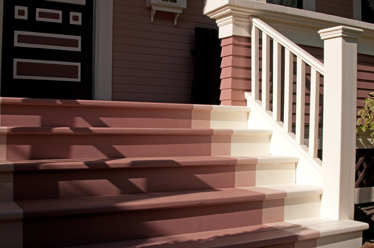 Benjamin Moore Monticello Rose, Brown Teepee, and Incense Stick Ombre Steps