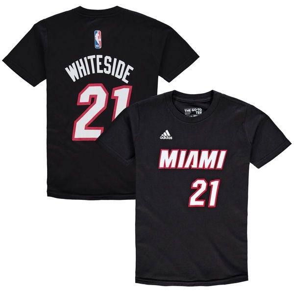Hassan Whiteside Miami Heat Youth Game Time Flat Name & Number T-Shirt - Black - $21.99