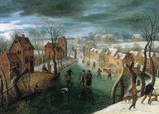 Paisaje invernal con pueblo, patinadores en un río helado  y cazadores en primer plano, Jacob Grimmer