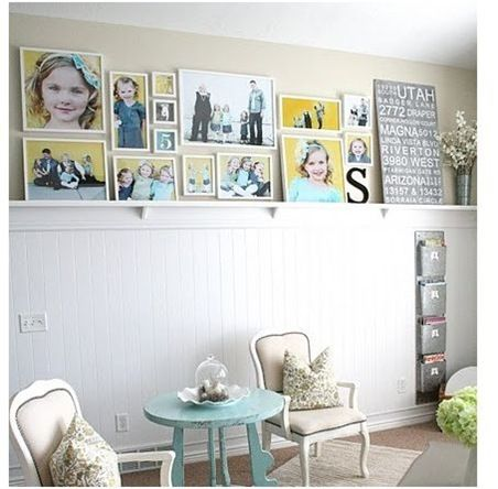 Love the yellow and gray and the wainscoting and the teal table just makes it perfect!!