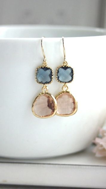 Sapphire Blue, Navy Blue Peach Champagne Gold Glass Drops Dangle Earrings. Bridesmaids Gifts, Bridal Wedding Jewelry, Peach and Blue Wedding by Marolsha - https://www.etsy.com/listing/151688505/sapphire-blue-navy-blue-peach-champagne?ref=shop_home_active_1 #Earrings
