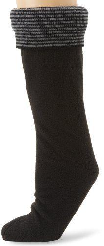 Betsey Johnson Women's Thin Stripe Cuff Calf Length Welly Sock, Black, Medium/large