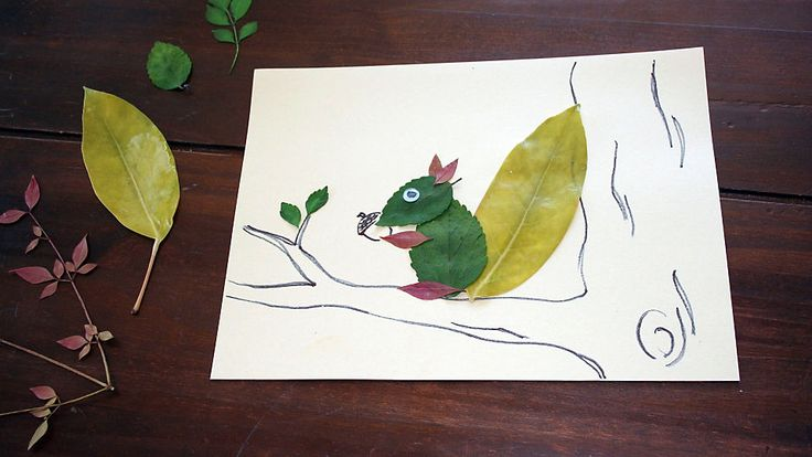 Use simple natural materials to craft a squirrel in a tree and other creatures of your own creation.