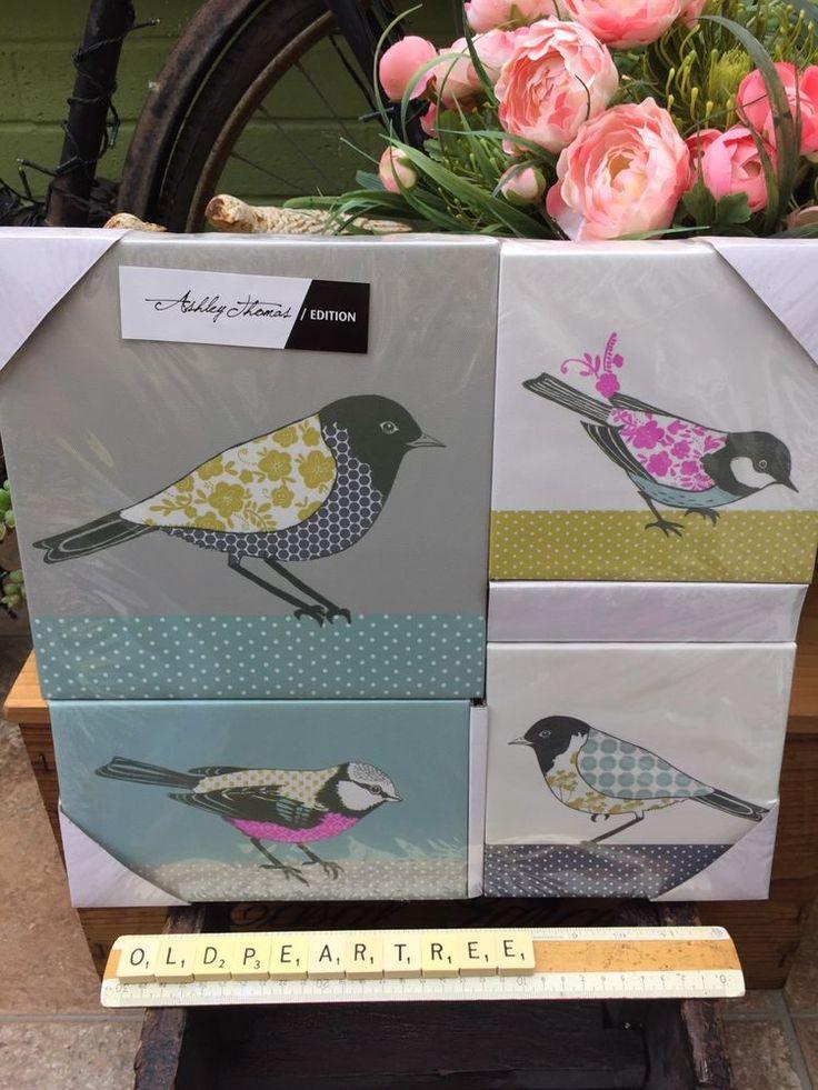 Designers at Debenhams x4 Canvas Birds Prints Limited Edition Ashley Thomas BNWT  | eBay