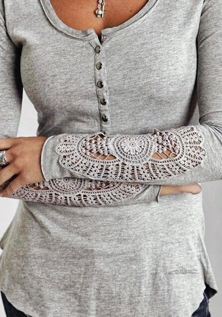 T-shirt lace sleeves