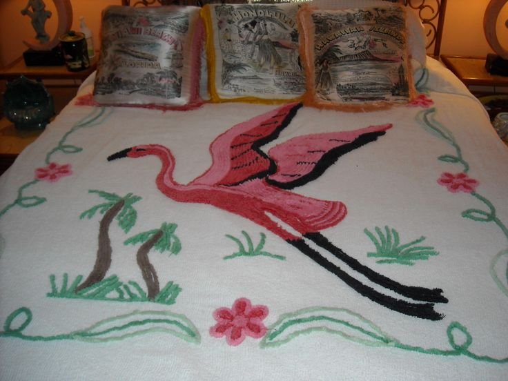 Pink flamingo chenille.