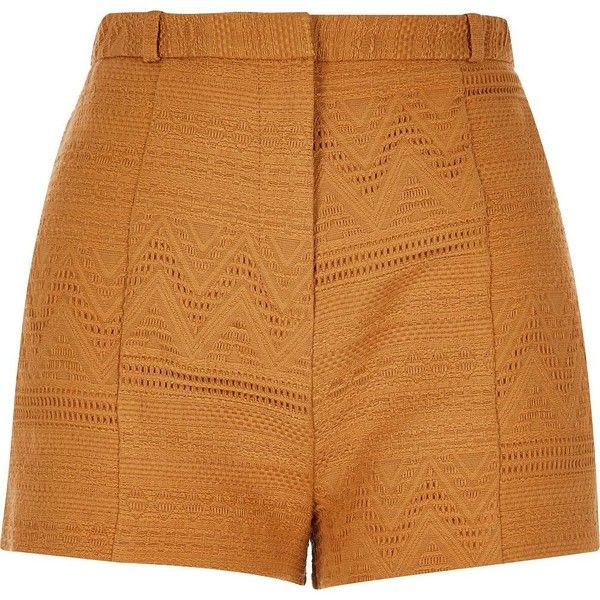 River Island Dark yellow woven geometric shorts (£35) ❤ liked on Polyvore featuring shorts, bottoms, yellow, high-rise shorts, river island, woven shorts, yellow high waisted shorts and high rise shorts