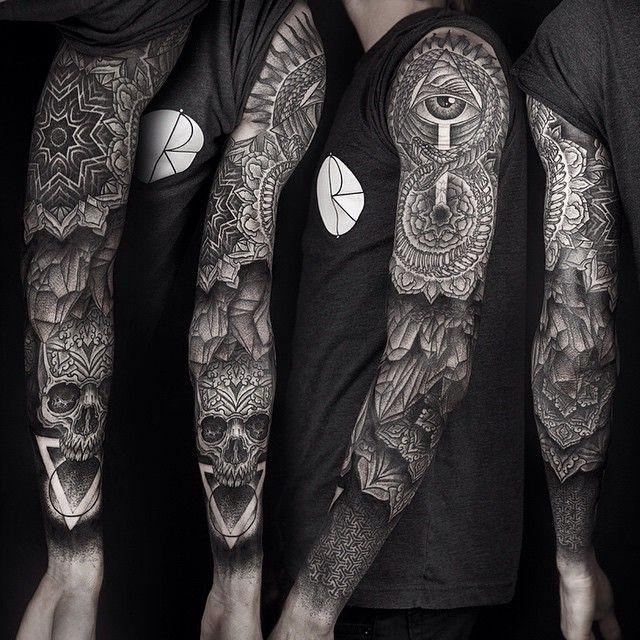 Ouroborus/Triangle sleeve (various healing stages) via www.dasleitbild.com / www.fb.com/dasleitbild / www.pinterest.com/leitbild #ouroborus #triangle #eclipse #mandala #snake #eye #dot #blackworkers #tattoodo #germantattooers #leitbild